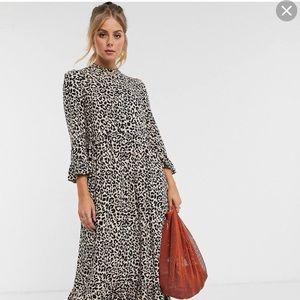ASOS DESIGN button through tiered maxi dress US 4